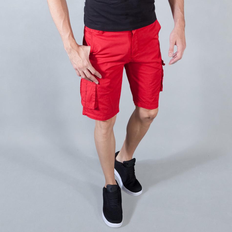 Ανδρική κόκκινη βερμούδα με cargo τσέπες it050618-28
