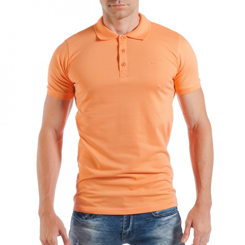 Ανδρική κοντομάνικη πόλο σε πορτοκαλί χρώμα tsf250518-38