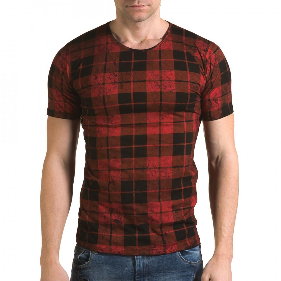 Ανδρική κόκκινη κοντομάνικη μπλούζα Lagos il120216-49