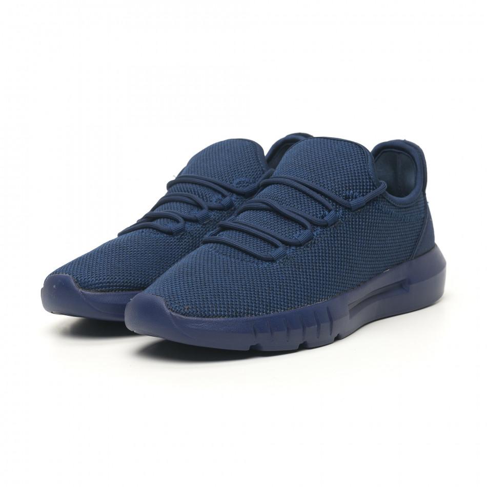 Ανδρικά μπλε μελάνζ αθλητικά παπούτσια ελαφρύ μοντέλο it041119-2
