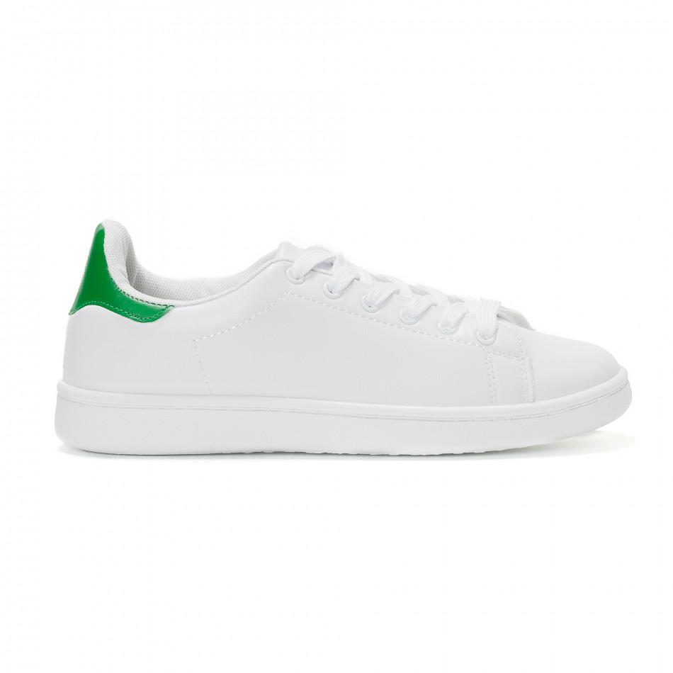Γυναικεία λευκά sneakers με πράσινη λεπτομέρεια στη φτέρνα it230418 ... 0671edc71f7