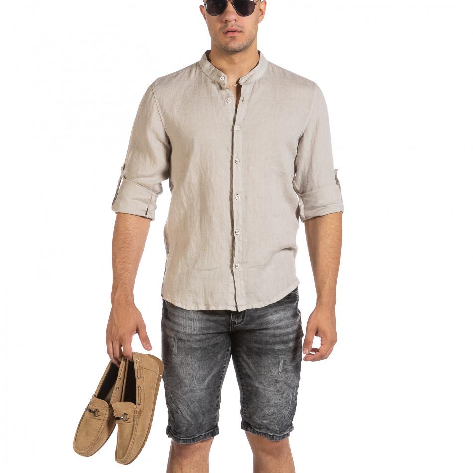 Ανδρικό μπεζ λινό πουκάμισο Duca Fashion it240621-25
