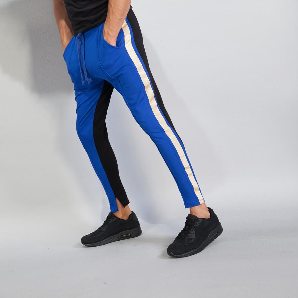 Ανδρική φόρμα σε μαύρο και μπλε με ρίγα it240818-101