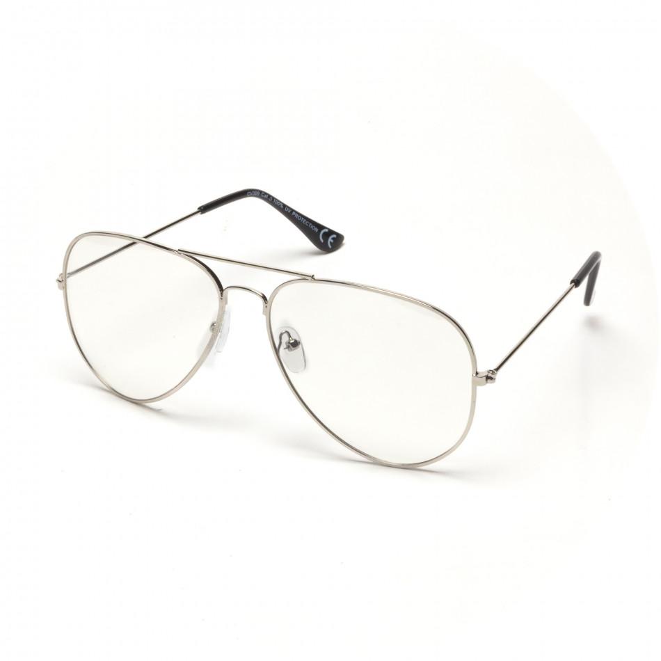 6c5fa58967 Ανδρικά διαφανές γυαλιά ηλίου πιλότου με ασημί σκελετό it250418-6 ...