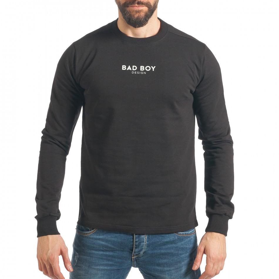 Ανδρικό μαύρο φούτερ RHUM22 it290118-100
