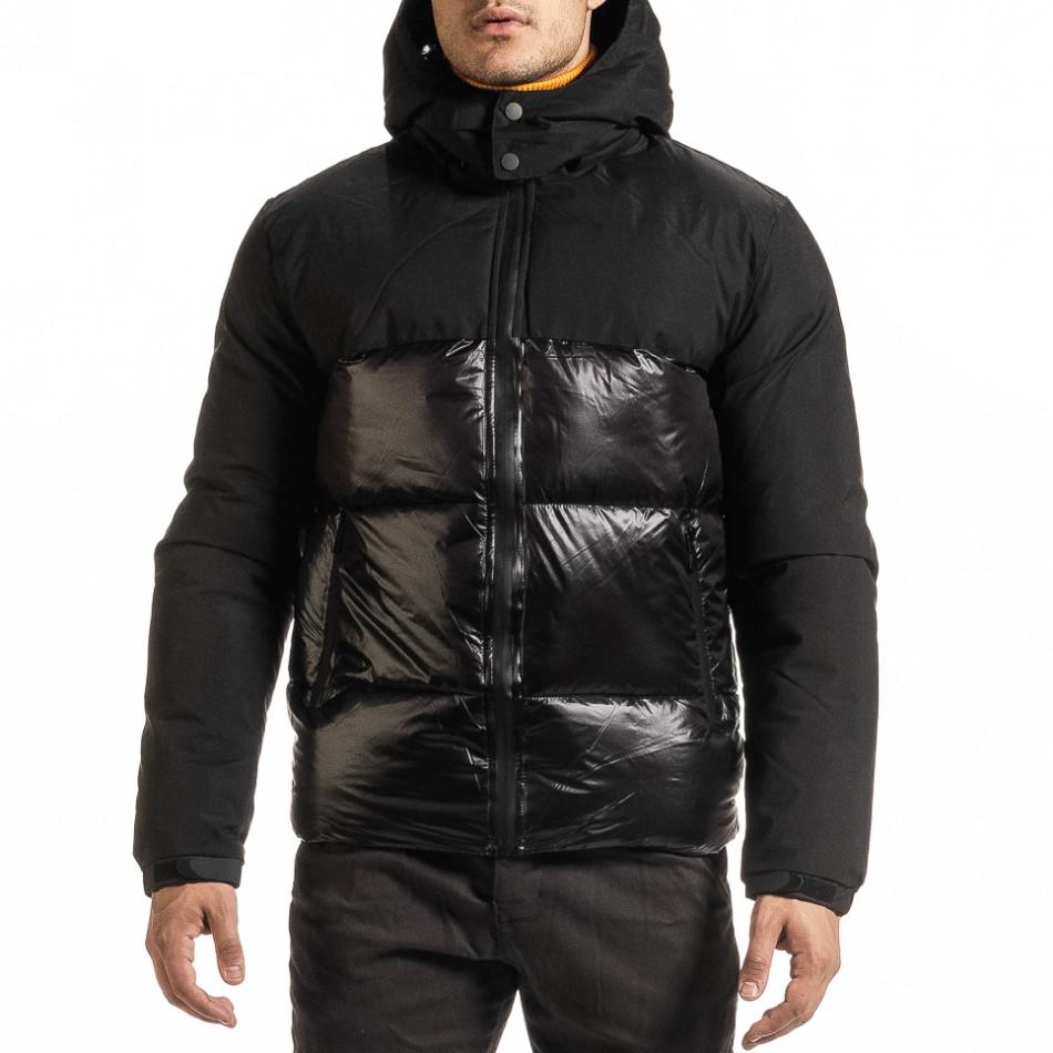 Ανδρικό μαύρο χειμωνιάτικο μπουφάν Duca Homme it301020-8