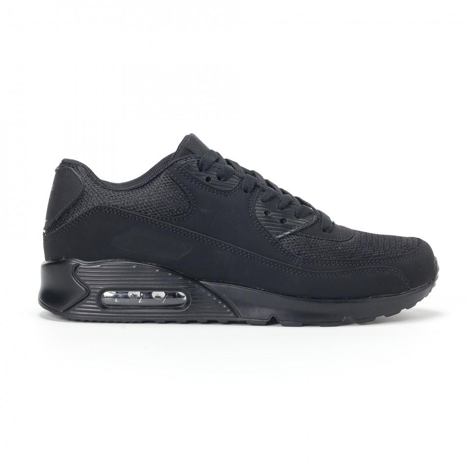 Ανδρικά μαύρα αθλητικά παπούτσια με σόλες αέρα it160318-1