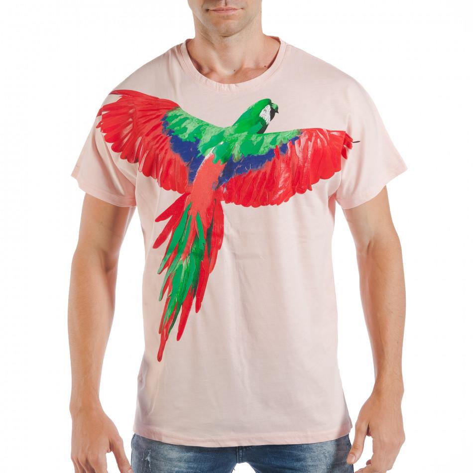 Ανδρική ροζ κοντομάνικη μπλούζα με πριντ παπαγάλο tsf250518-7