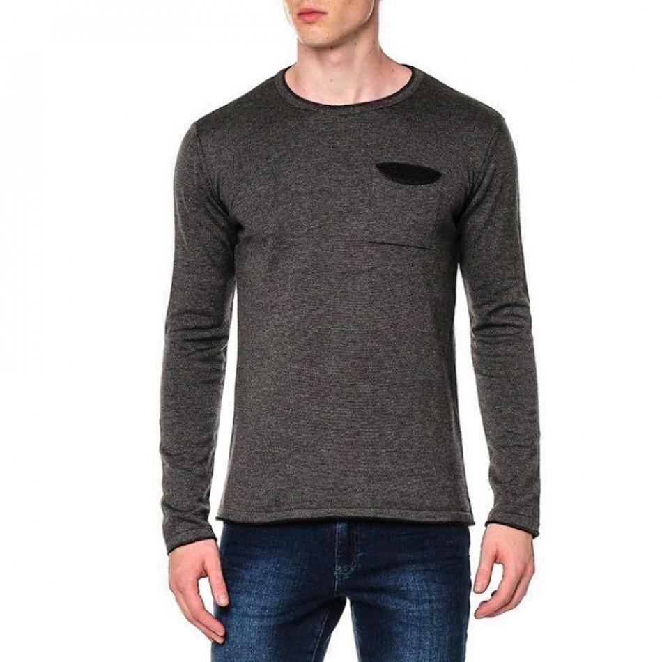 Ανδρικό γκρι πουλόβερ με τσέπη tr240921-2