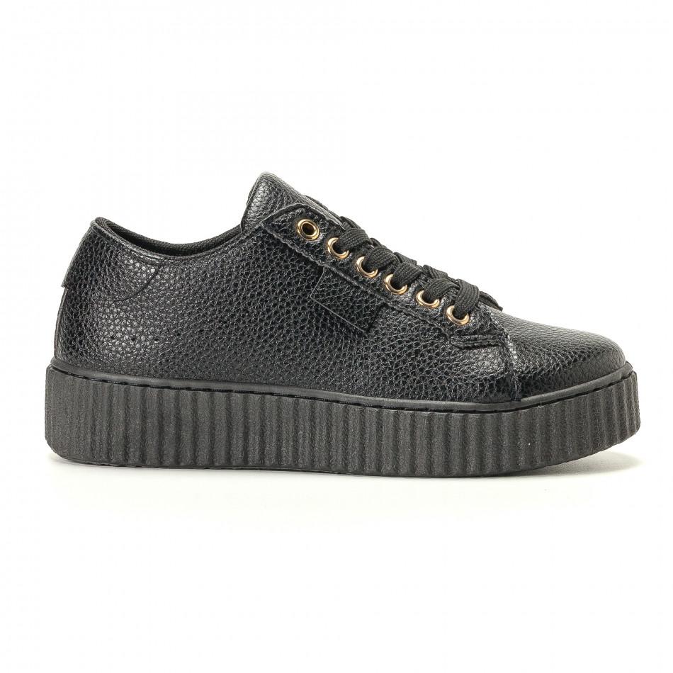 Γυναικεία μαύρα sneakers Ideal Shoes it200917-57