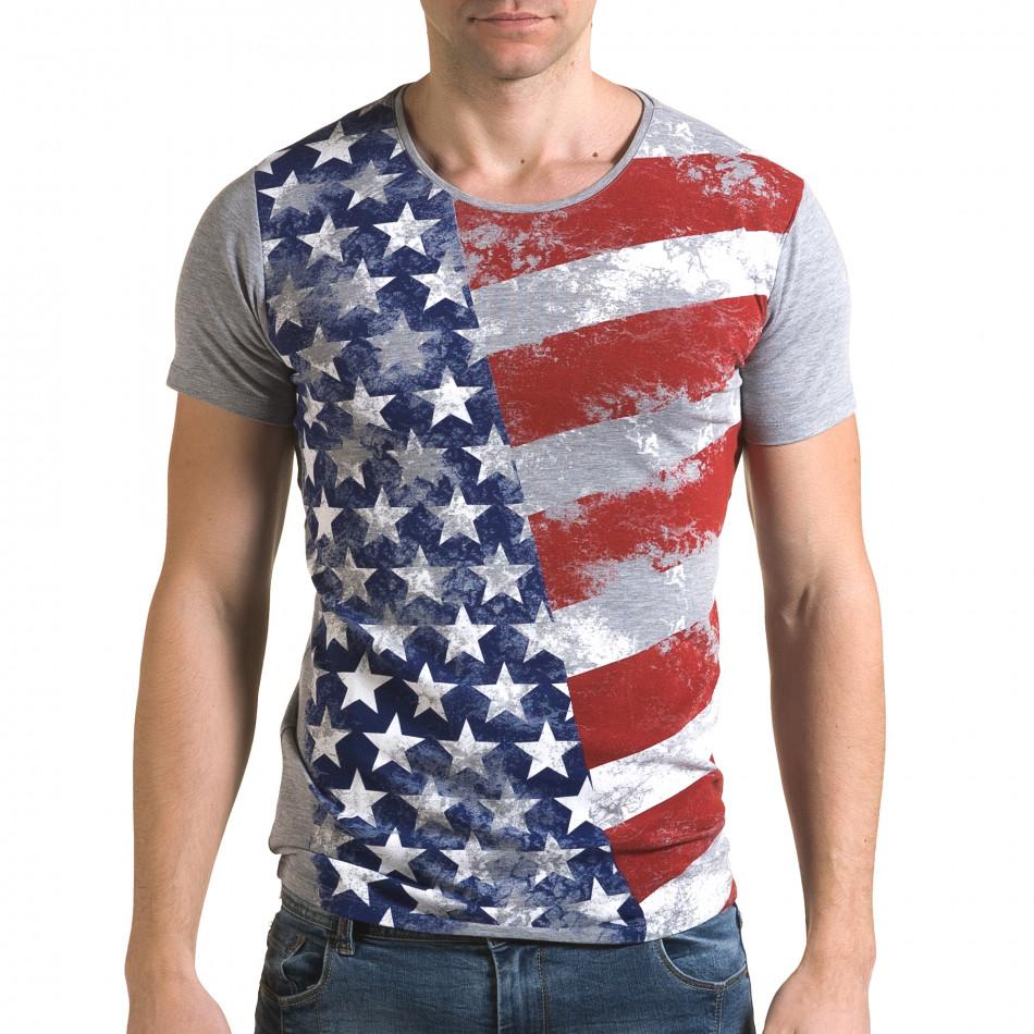 Ανδρική γκρι κοντομάνικη μπλούζα Lagos il120216-12