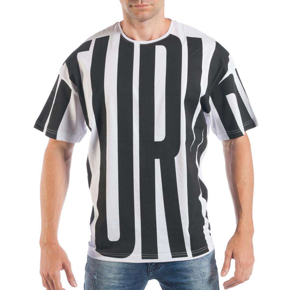 Ανδρική λευκή-μαύρη κοντομάνικη μπλούζα ελεύθερη γραμμή tsf250518-4