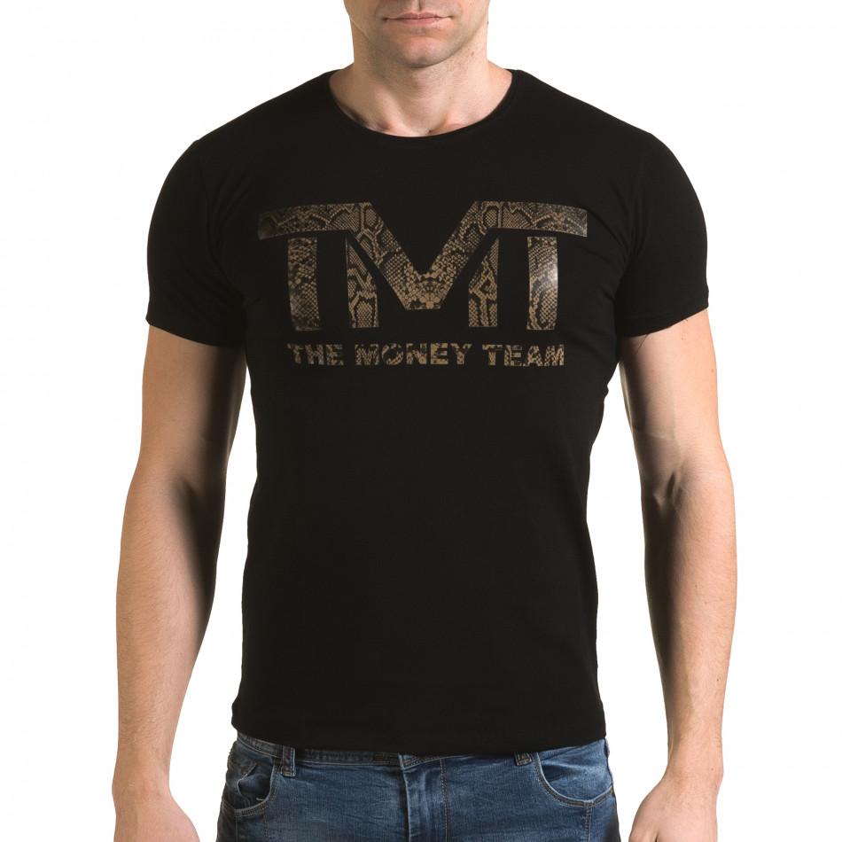 Ανδρική μαύρη κοντομάνικη μπλούζα Glamsky il120216-64