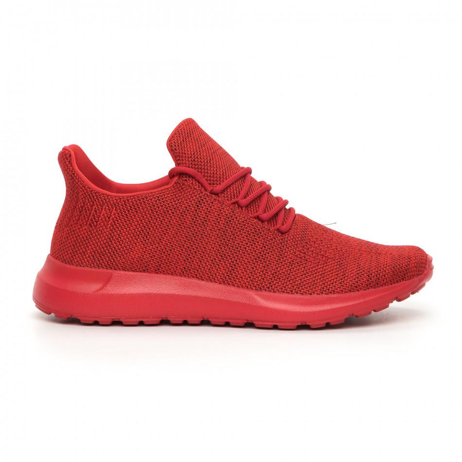 Ανδρικά κόκκινα μελάνζ αθλητικά παπούτσια με διακόσμηση it130819-11