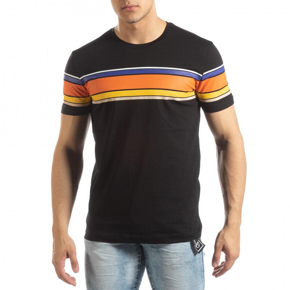 Ανδρική μαύρη κοντομάνικη μπλούζα με πολύχρωμες ρίγες it150419-53