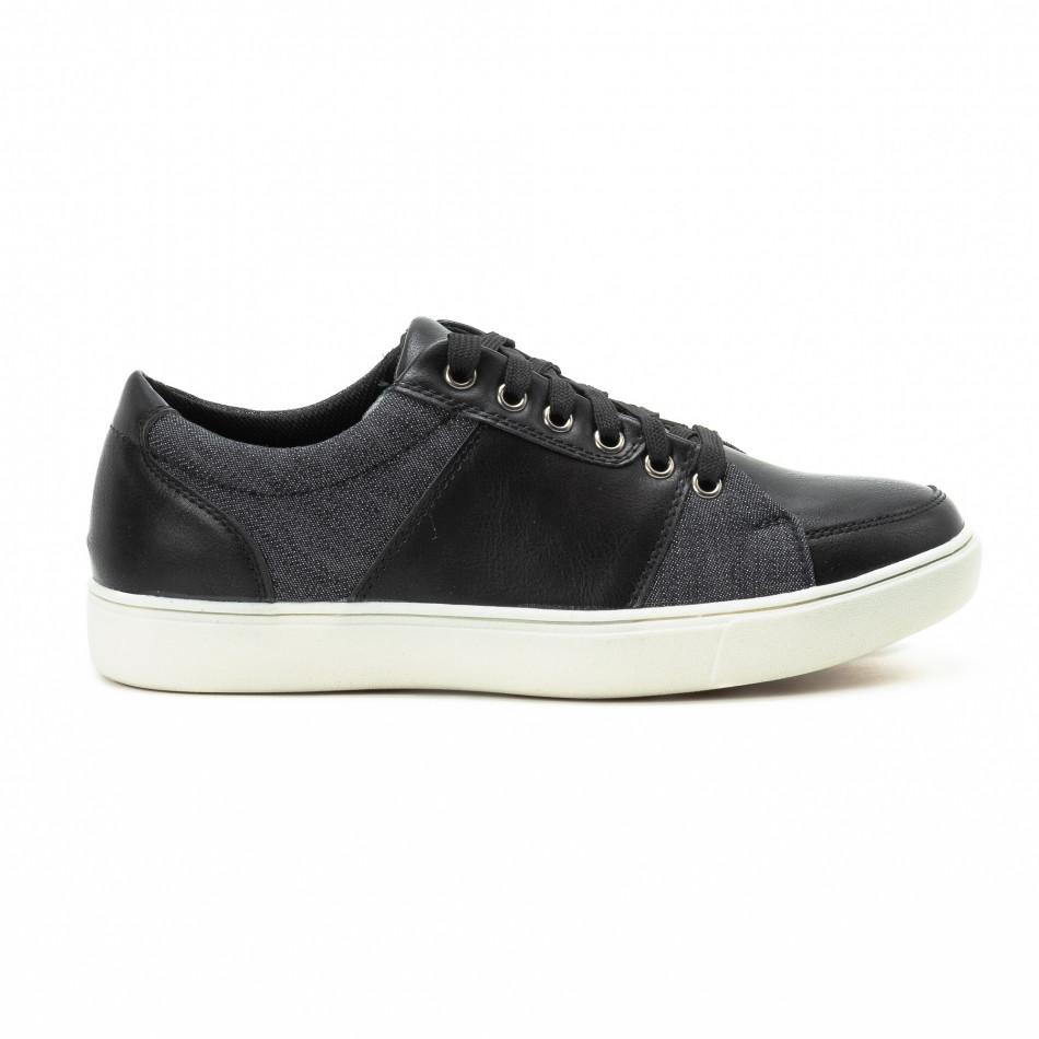 Ανδρικά μαύρα sneakers από δερματίνη και τζιν it140918-5