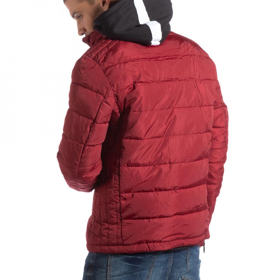 Ανδρικό κόκκινο χειμωνιάτικο μπουφάν με επένδυση και γιακά μοα it250918-84