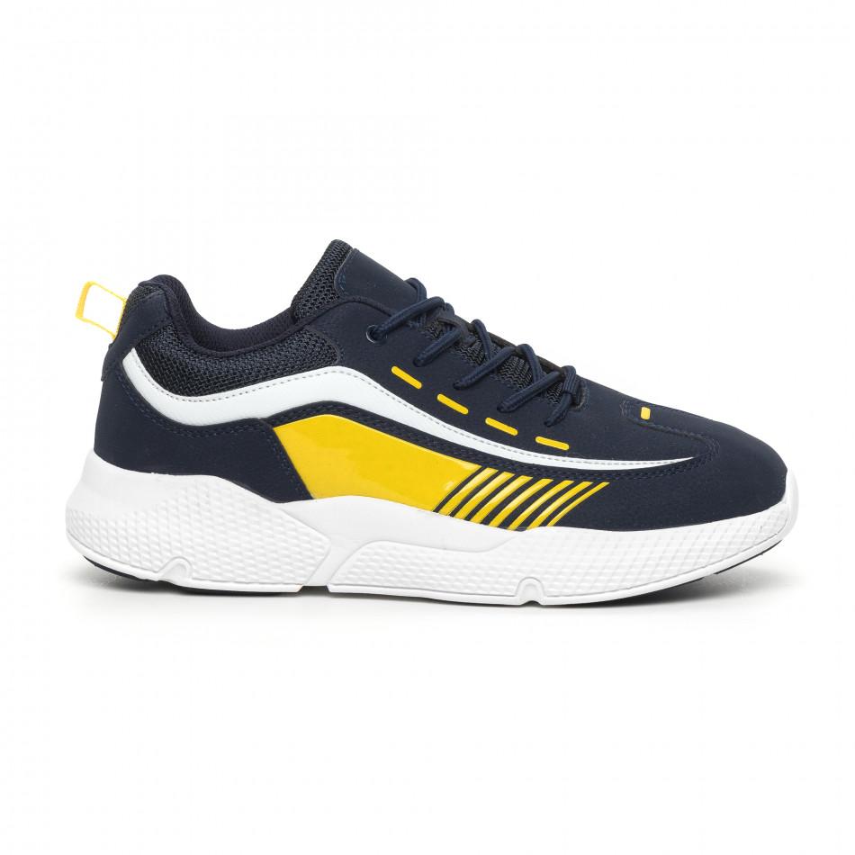 Ανδρικά μπλέ αθλητικά παπούτσια με λεπτομέρειες από λουστρίνι it130819-20