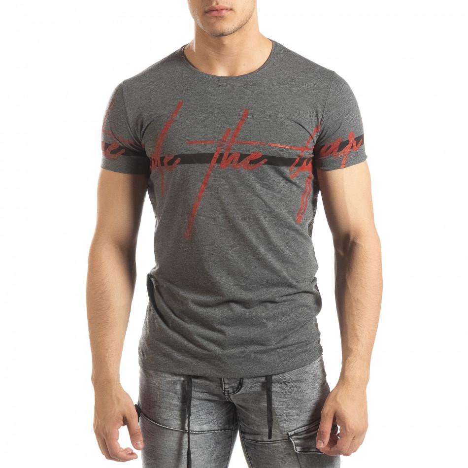 Ανδρική γκρι μελάνζ κοντομάνικη μπλούζα με πριντ it150419-102