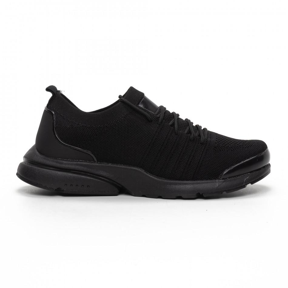 Ανδρικά μαύρα αθλητικά παπούτσια καλτσάκι ελαφρύ μοντέλο it240419-23