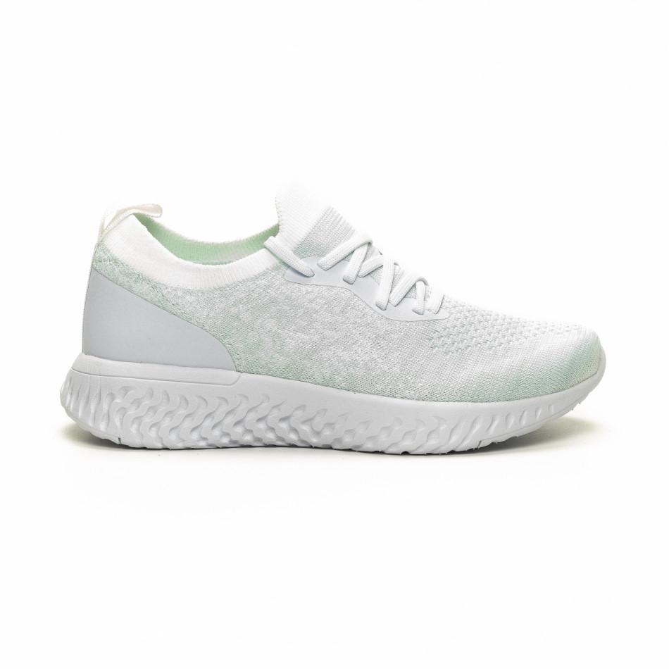 Γυναικεία λευκά αθλητικά παπούτσια καλτσάκι ελαφρύ μοντέλο it240419-53