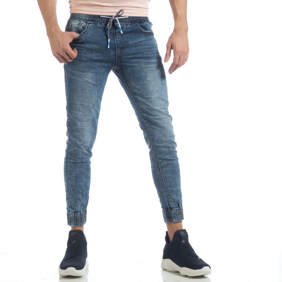 Ανδρικό γαλάζιο τζιν Skinny Jogger με τσαλακωμένε εφέ it040219-2