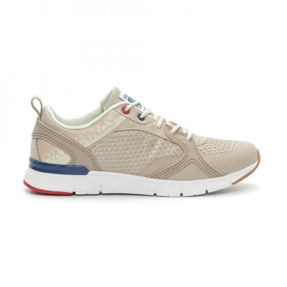 Ανδρικά μπεζ αθλητικά παπούτσια με κορδόνια it150319-30
