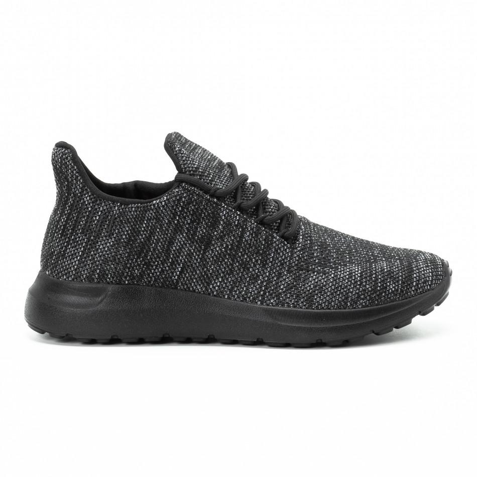 Ανδρικά μαύρα μελάνζ αθλητικά παπούτσια  it140918-19