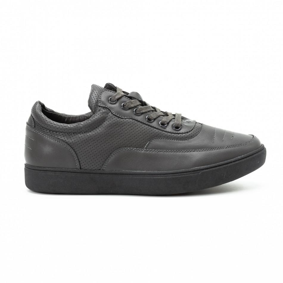 Ανδρικά γκρι sneakers με διακοσμητικές τρύπες it140918-4