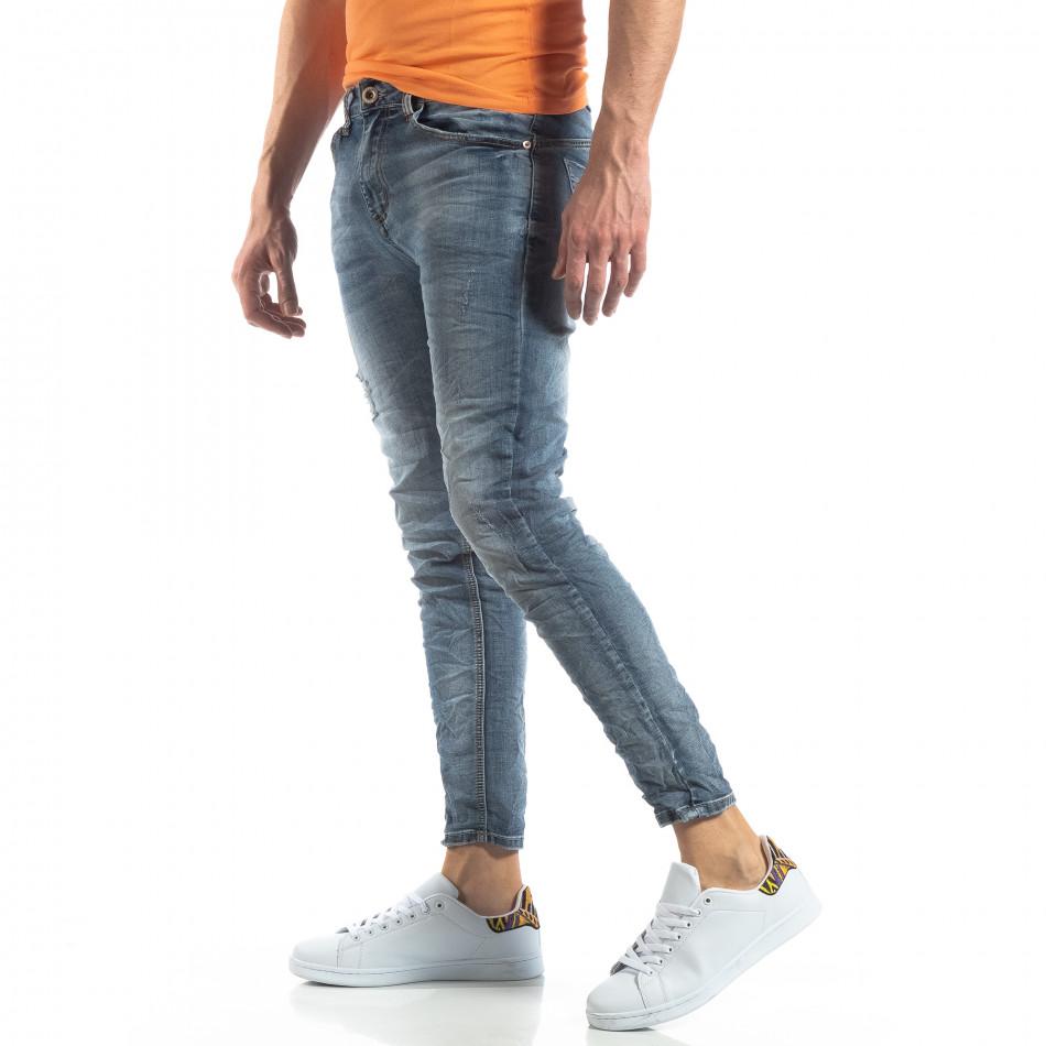 Ανδρικό γαλάζιο τζιν Washed Slim Jeans it210319-9