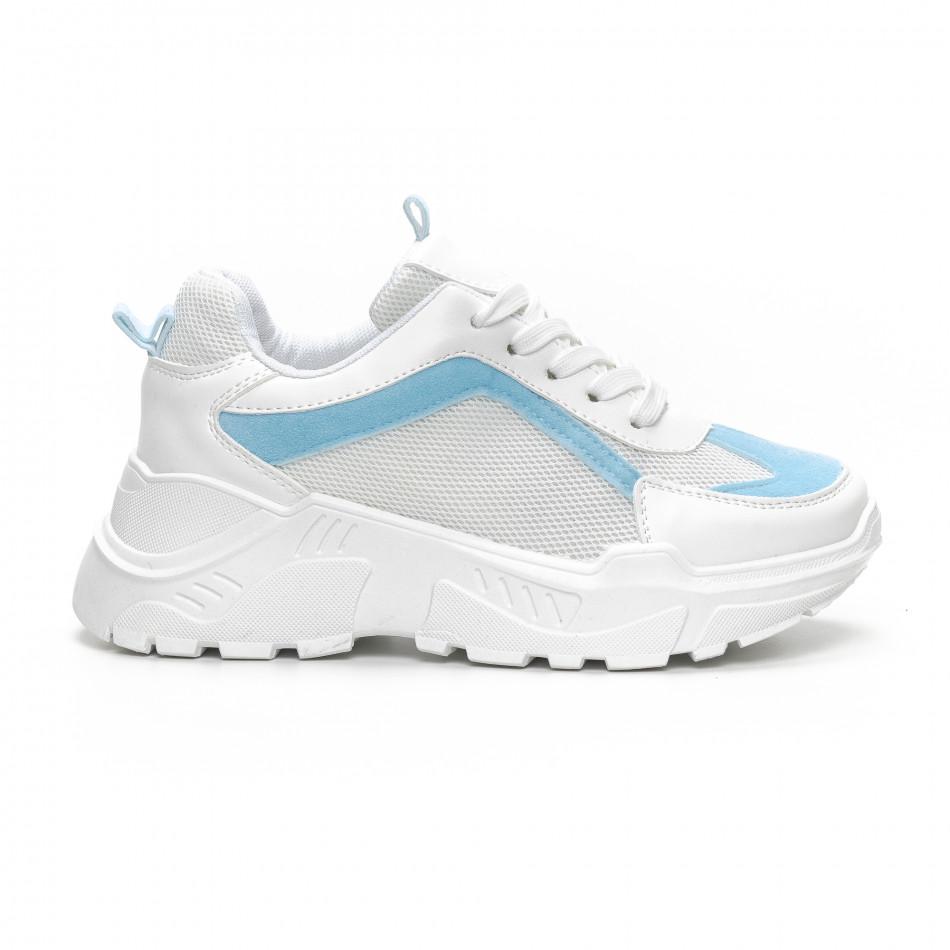 Γυναικεία Chunky αθλητικά παπούτσια σε λευκό και γαλάζιο it240419-45