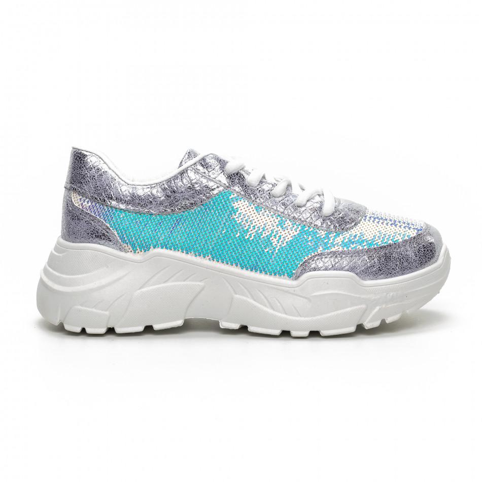 Γυναικεία γκρι Chunky αθλητικά παπούτσια με παγιέτες it240419-60