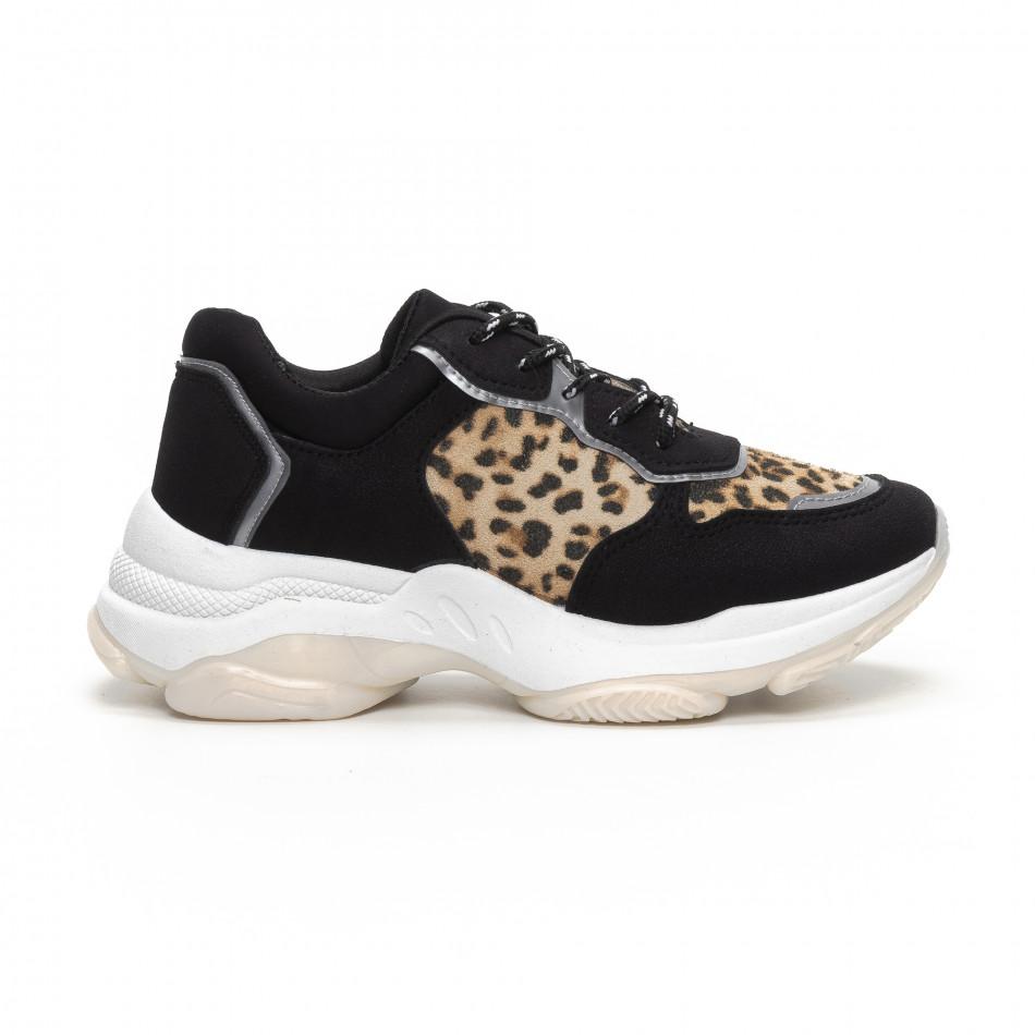 Γυναικεία Chunky αθλητικά παπούτσια σε μαύρο και λεοπάρ it240419-42