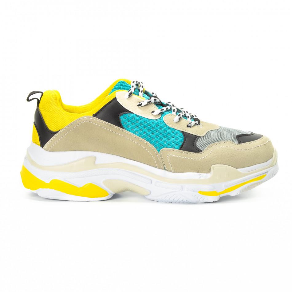 Ανδρικά αθλητικά παπούτσια σε κίτρινο και μπεζ με χοντρή σόλα it221018-40