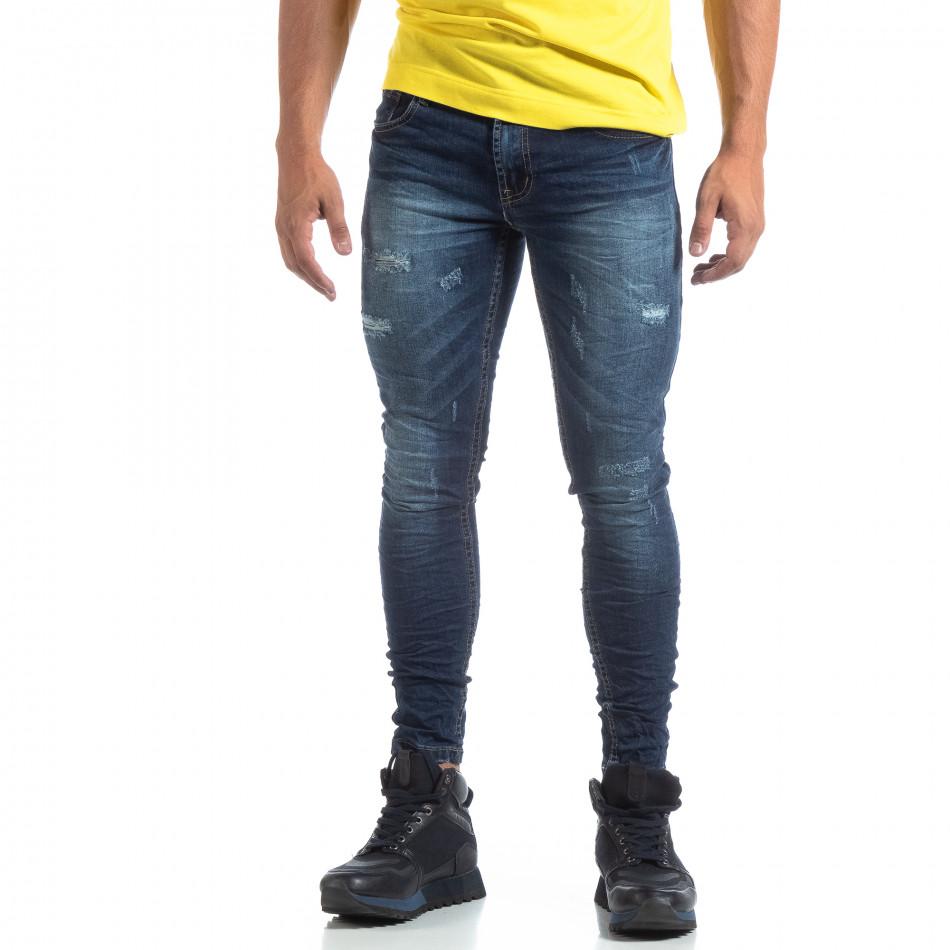 Skinny ανδρικό μπλέ τζιν με σκισίματα it170819-47