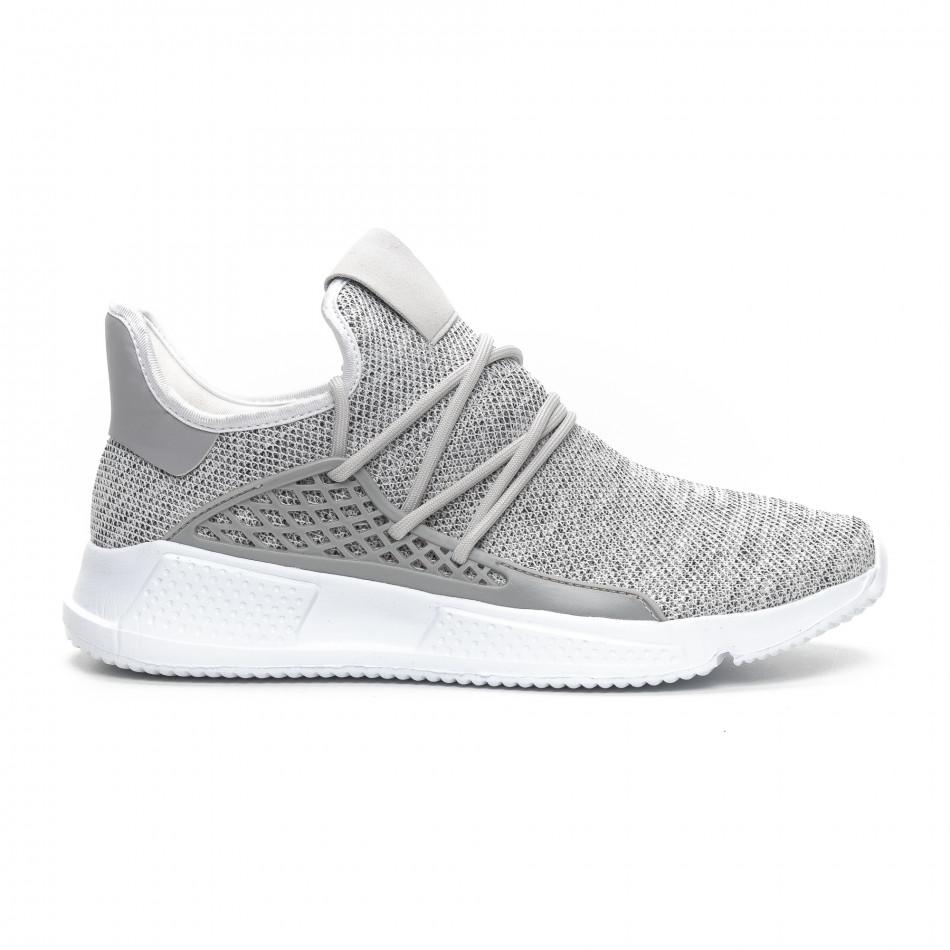 Ανδρικά γκρι μελάνζ αθλητικά παπούτσια ελαφρύ μοντέλο it240419-15