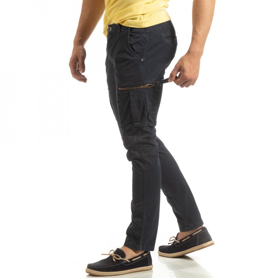 Ανδρικό σκούρο μπλε παντελόνι cargo σε ίσια γραμμή it090519-13