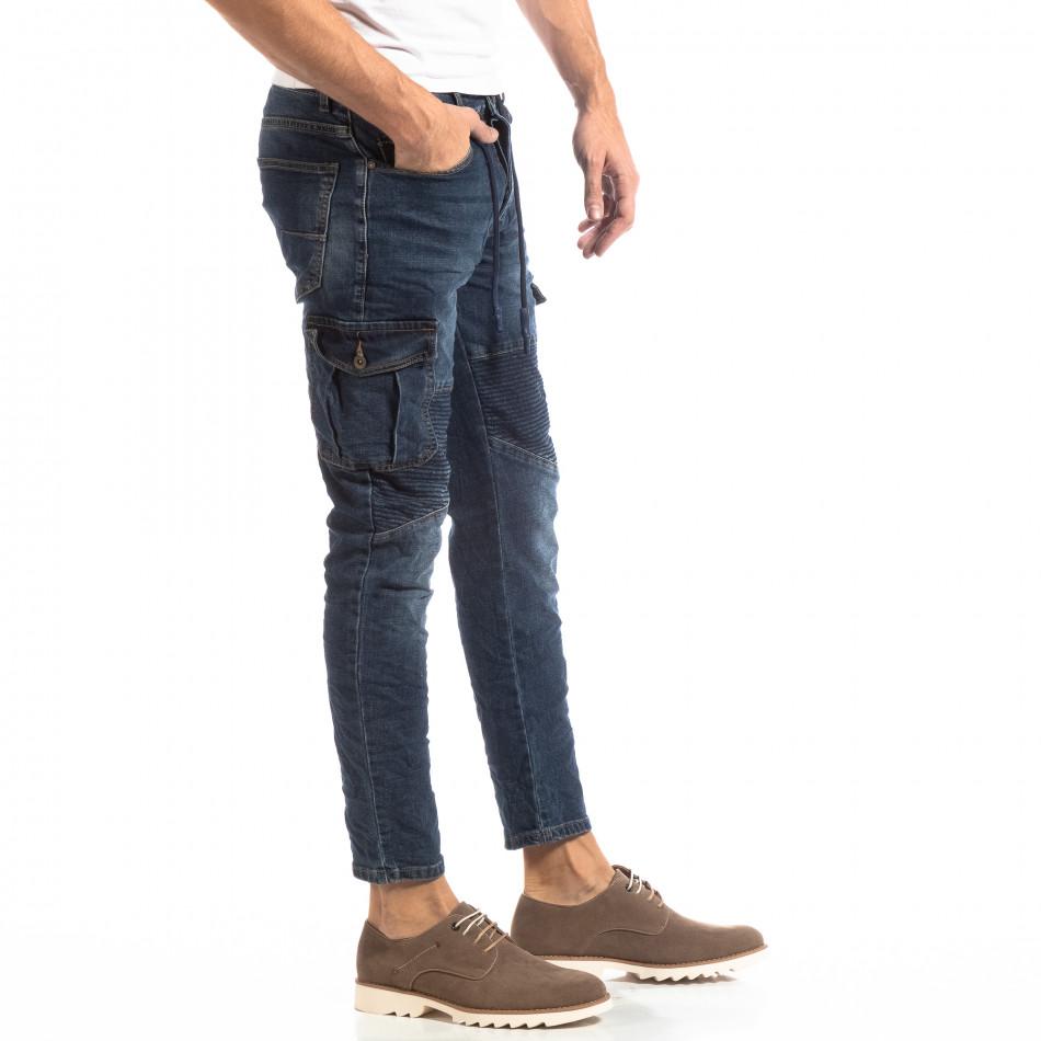 Ανδρικό μπλε τζιν Cargo Jeans σε ροκ στυλ it261018-11