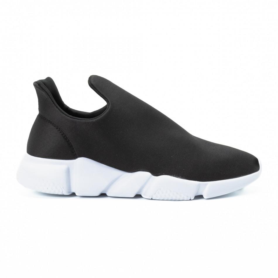 Ανδρικά μαύρα slip-on αθλητικά παπούτσια από νεοπρέν it140918-14