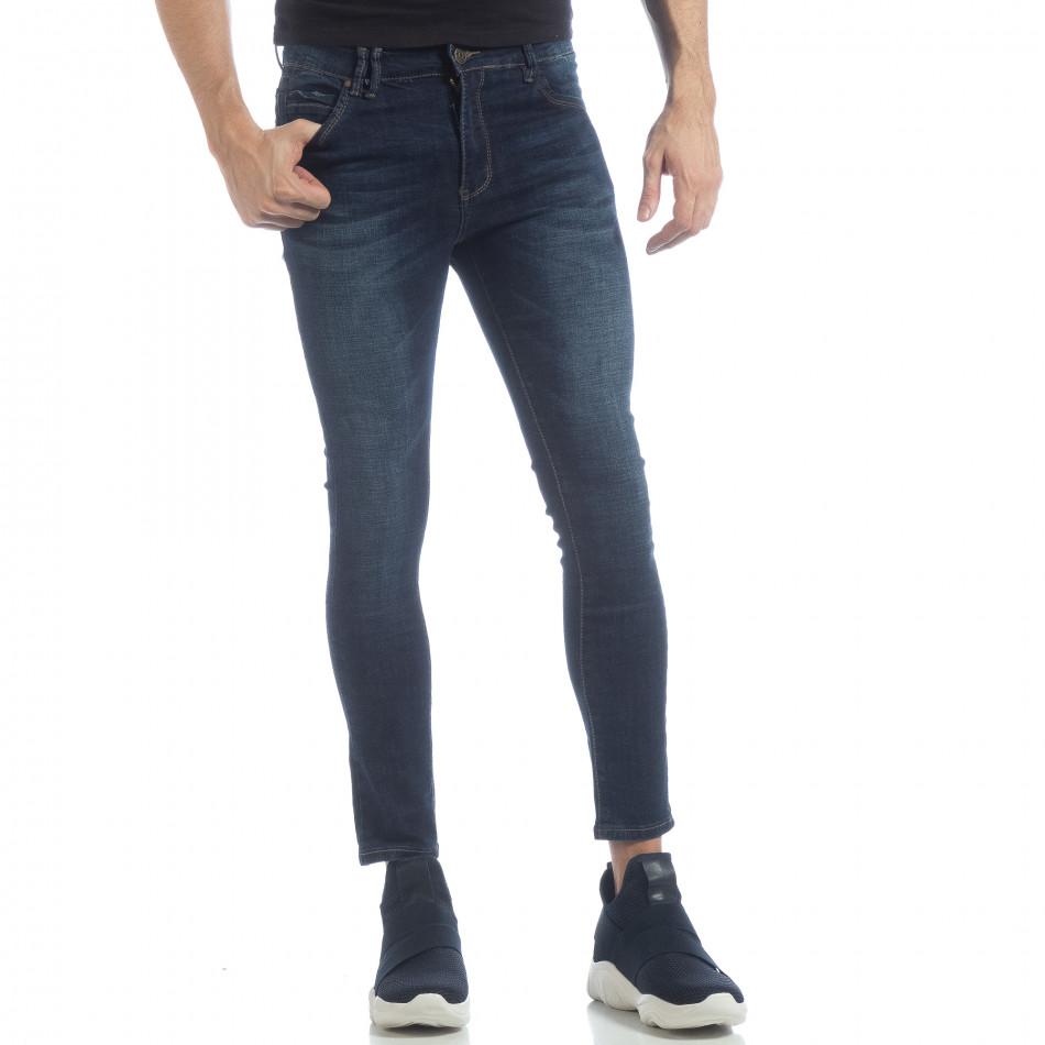 Ανδρικό μπλε κλασικό τζιν Skinny Jeans it040219-8