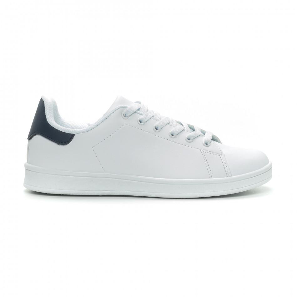 Ανδρικά Basic λευκά sneakers με μπλε λεπτομέρεια it150319-12