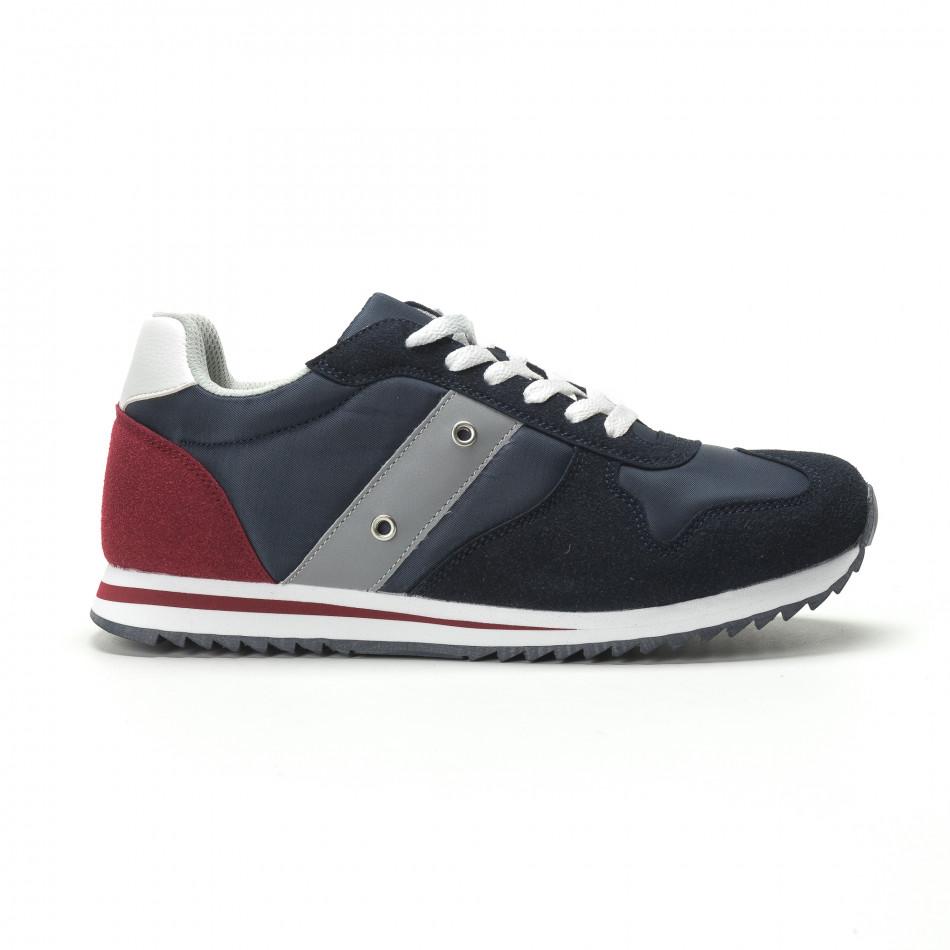 Ανδρικά μπλε αθλητικά παπούτσια κλασικό μοντέλο it250119-5