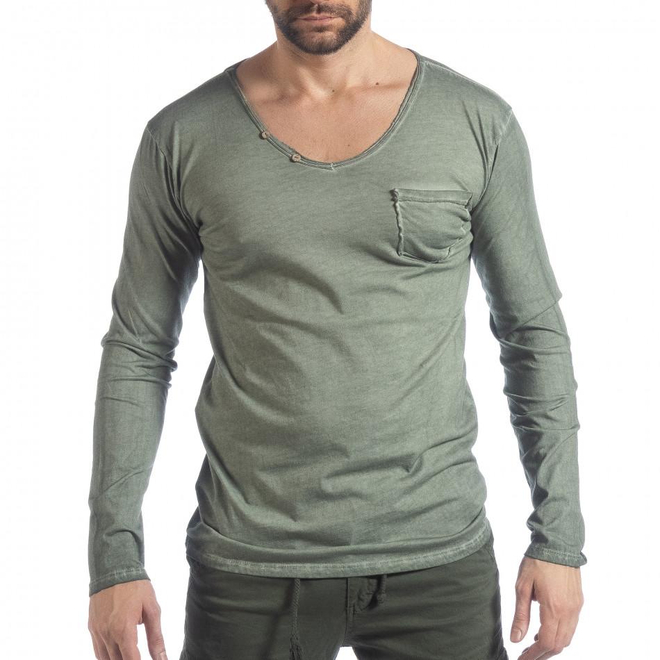 Ανδρική πράσινη μπλούζα Vintage στυλ it040219-81