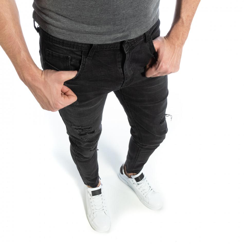 Ανδρικό μαύρο τζιν Skinny fit it040219-4