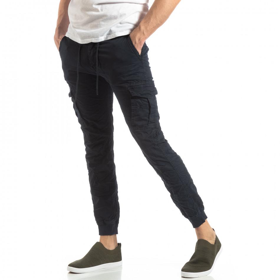 Ανδρικό σκούρο μπλε παντελόνι cargo με κορδόνια it210319-21