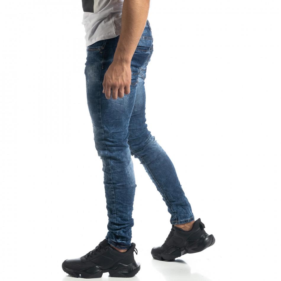 Ανδρικό γαλάζιο τζιν Vintage style Slim fit it041019-33