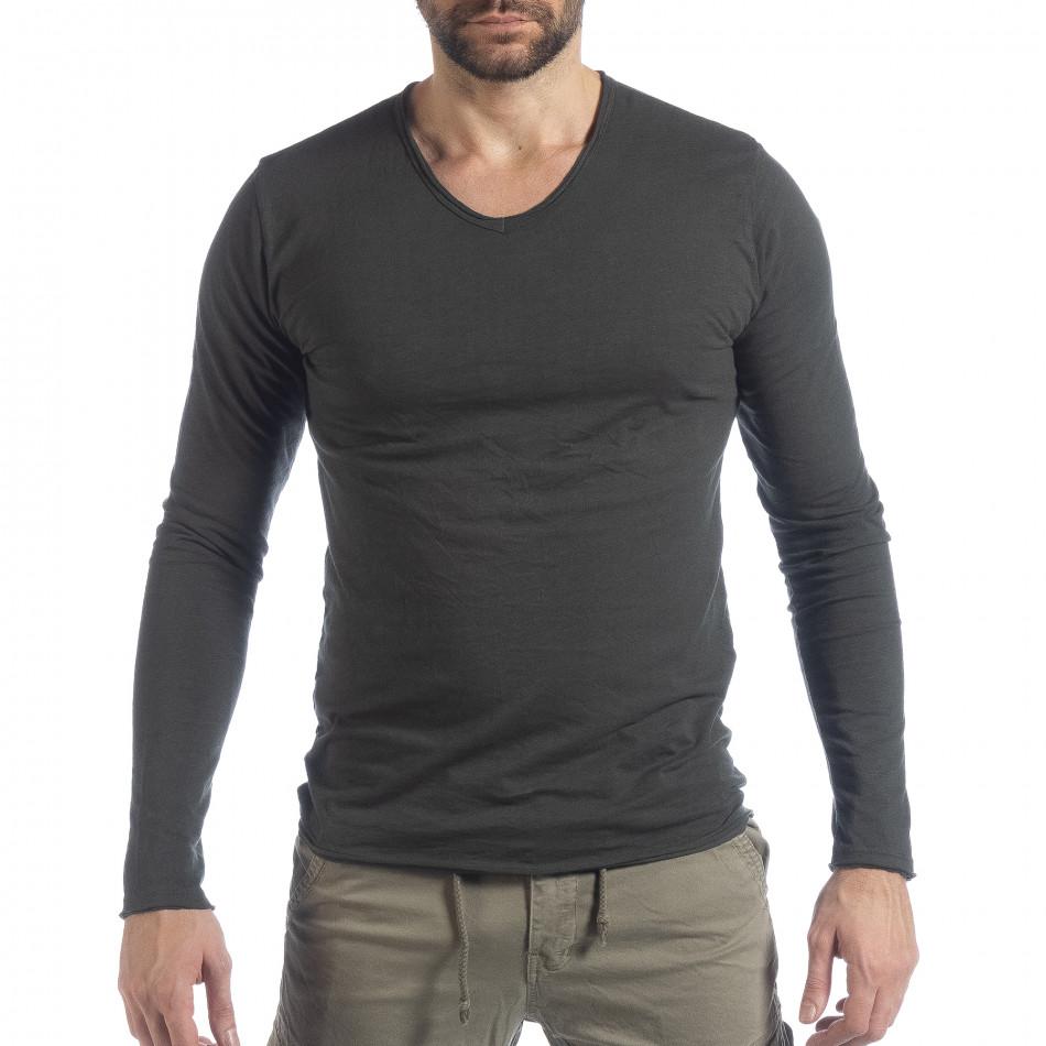 Ανδρική γκρι μπλούζα V-neck it040219-87