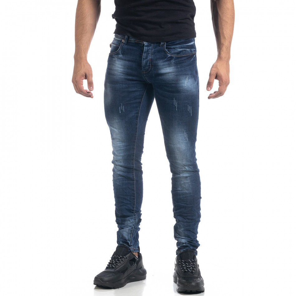 Ανδρικό μπλε τζιν με εφέ Fashion Slim fit it071119-14