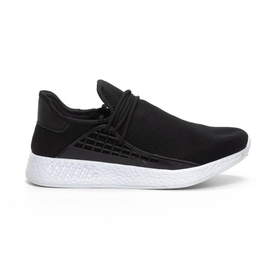 Ανδρικά μαύρα αθλητικά παπούτσια ελαφρύ μοντέλο it240419-6