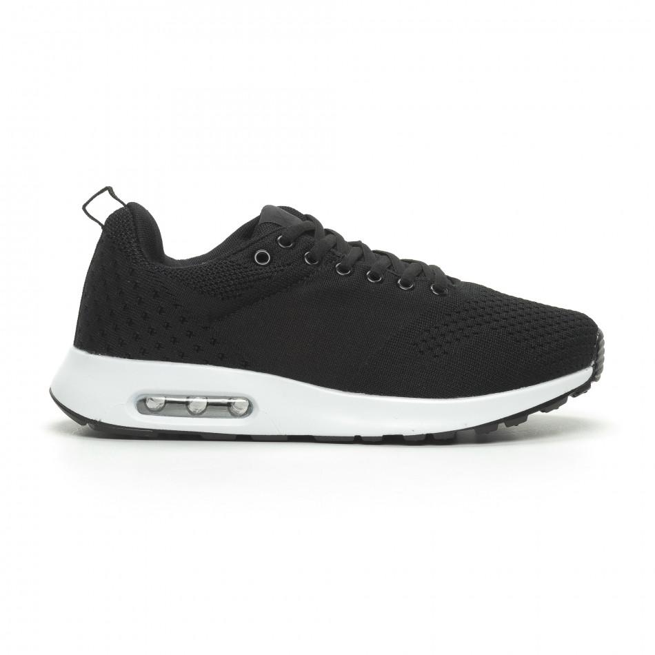 Ανδρικά μαύρα πλεκτά αθλητικά παπούτσια με αερόσολα it100519-7